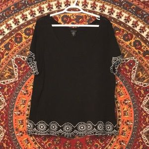 Black and White Embroidered Hem Tee